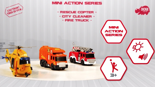 Mini Action Series / Rescue Copter / City Cleaner / Fire Truck Video 2