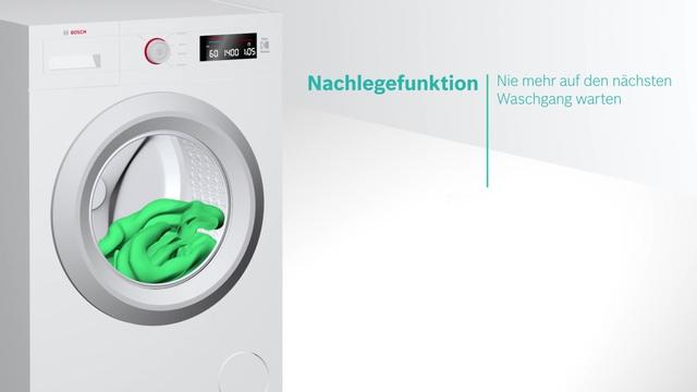 Bosch - Nachlegefunktion - Hinzufügen von Kleidungsstücken auch nach Start des Waschprogramms Video 2